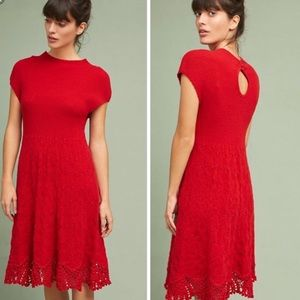 Alpaca & Wool Blend Oda Crochet Hem Sweater Dress